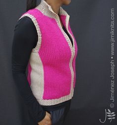 A warm and Sporty Gilet Vest, made using the Addi Express Professional (22 pin) and/or Addi Express King Size (46 pin) knitting machines – along with a certain amount of hand knitting.