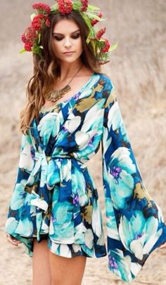 style, spring outfits, blue, heels, flower crown, elegant, cute hand bag, summer outfits, floral, longsleeved, flowers, romper, navy, dress, girly outfits tumblr, girly, beautiful, kimono