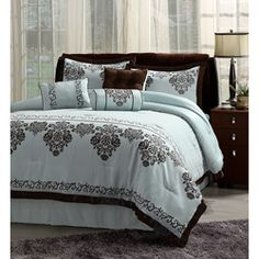 Color Ideas: Light Blue/Turquoise. (Fontaine Blue with Chocolate Brown Trim 7-piece Comforter Set)