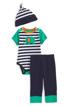 Offspring Elephant Bodysuit, Pants & Hat (Baby Boys) available at #Nordstrom