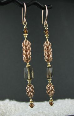 Long Rose Goldfill Mixed Metals Chainmaille Earrings, Rose and Yellow Goldfill Chainmail Jewelry, Long Chainmail Brown Gemstone Earrings by LoneRockJewelry on Etsy
