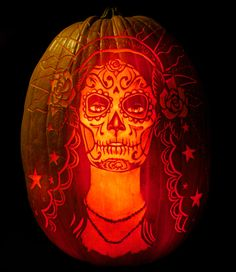 for Day of the Dead, creative expression in pumpkin carving by Maniac Pumpkin Carvers