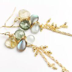 Long Chain Earrings Gem Weave Dangle Earrings Labradorite Aquamarine
