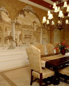 Mural Stencils Elegant For Dining Room Grisaille Murals