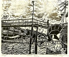 Canal Town, limited edition lino cut, hand printed, hand signed in pencil by the artist via Etsy