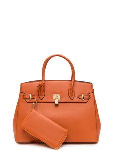56faab17389b Living The Dream Bag  N Wallet Set ORANGE TAN BLACK FUCHSIA - GoJane.com
