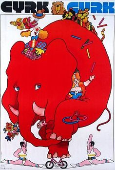 Red Elephant on bicycle - Cyrk  Original Polish cyrk poster  designer: Waldemar Swierzy  year: 1972