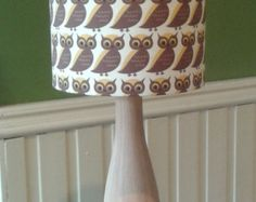Handmade Vintage Owl Fabric Lamp Shade