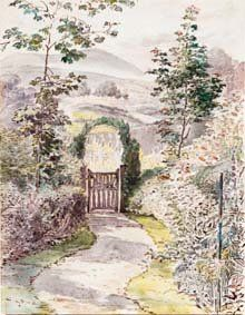 'The Garden Gate' (1900) by Beatrix Potter. I think a cottage front needs a garden gate otherwise what will you lean on while chatting to your neighbor?