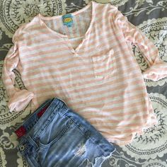 """c&c california pink stripe top sheer linen top with pocket detail. great condition. 100% linen. bust: 22"""" length: 23"""" C&C California Tops Blouses"""