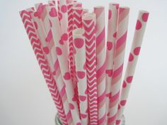 Hot Pink Paper Straw Mix - Dot Stripe Hearts and chevron