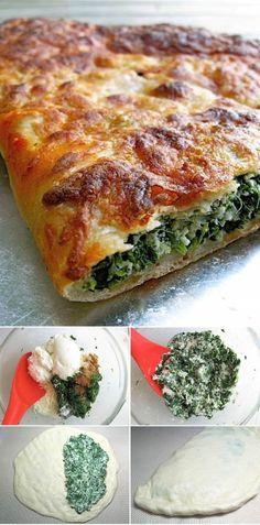 Spinach-Ricotta Calzone: pizza in principle: King Arthur Flour – Baking Banter Calzone, Stromboli, Veggie Recipes, Vegetarian Recipes, Cooking Recipes, Healthy Recipes, Enjoy Your Meal, Empanadas, Italian Recipes