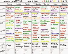 Insanity: MAX Insanity, Shaun T, Max 30 meal plan, Insanity Max 30 meal plan Insanity Meal Plans, T25 Meal Plan, Workout Meal Plan, Diet Meal Plans, Insanity Max 30 Schedule, Meal Prep, Weight Gain, How To Lose Weight Fast, Mason Jars