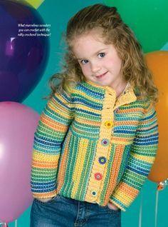 W895 Crochet PATTERN ONLY Child's Raglan Sleeve Coat Sweater Pattern