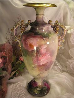"""""""Absolutely Stunning"""" Exceptional Antique CAC Belleek Vase PINK BURGUNDY ROSES Museum Quality Impressive Large 17 5/8"""" Tall ~ Gorgeous Hand ..."""