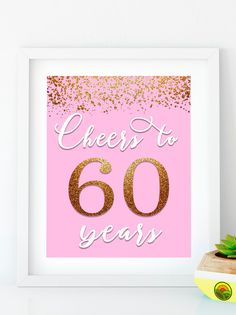 Items similar to Cheers to 40 Years, Anniversary Sign, Birthday Sign, Confetti Pink Gold Birthday Party Decoration, Birthday décor on Etsy 50th Birthday Decorations, 70th Birthday Parties, Happy 50th Birthday, Pink And Gold Birthday Party, Diy Banner, Birthday Invitations, Cheers, Printable, 40 Years
