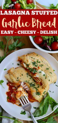 Easy Baked Lasagna Stuffed Garlic Bread - Slice of Jess