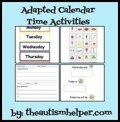 Calendar tasks for children with autism or special needs sometimes need to be adapted. These students may benefit from work that is more hands on and visual. These materials could be used to make a modified circle time/morning time binder for your student to work on during calendar activities.