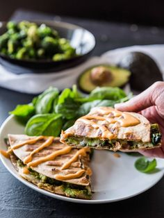 Smashed white bean and kale quesadillas with creamy bbq dip