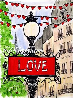 Parisian LOVE painting from Fifi Flowers #Paris #ValentinesDay #Love #Fifi