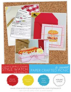 SW | A Sweet Paper Crafted Picnic | Clear and Simple Stamps | File It: Party | Craftization | BBQ Party | Labor Day Picnic | Barbecue Picnic | Burger Cookies | Hot Dog Cookies | Burger Invitations | Build-a-Burger | BBQ Party Planning