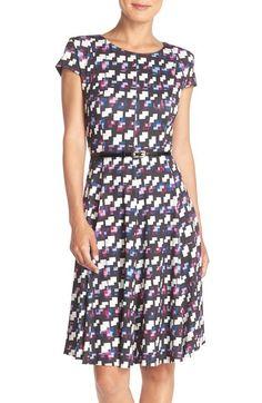 Eliza J Belted Print Jersey Fit & Flare Dress (Regular & Petite) available at #Nordstrom