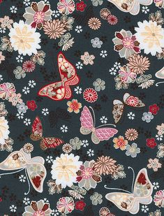 dark blue flowers and butterflies japanese fabric