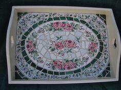 "China mosaic tray, 10""x14"""