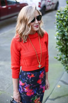 Floral Pencil Skirt + Cropped Sweater - MEMORANDUM, formerly The Classy CubicleMEMORANDUM, formerly The Classy Cubicle