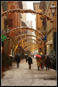 Holiday street - Bologna, Emilia-Romagna Region, Italy (by earth magnified) Oh The Places You'll Go, Places To Travel, Places To Visit, Christmas In Italy, Christmas Time, Bologna Italy, Visit Italy, Toscana, Italy Travel