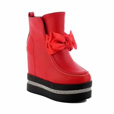 AllhqFashion Women s Round Closed Toe Solid Low Top High Heels Boots      Check this bffb1f024d8c