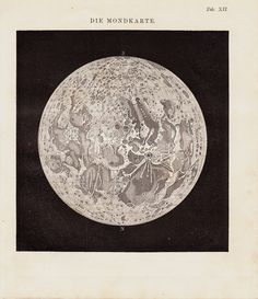 1883 Antique MOON chart lunar map old by TwoCatsAntiquePrints