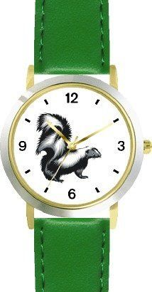 Skunk Animal - WATCHBUDDY® DELUXE TWO-TONE THEME WATCH - Arabic Numbers - Green Leather Strap-Size-Children's Size-Small ( Boy's Size & Girl's Size ) WatchBuddy. $49.95. Save 38%!
