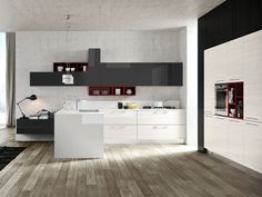 CUCINA OLIMPIA  Una cucina moderna dal design contemporaneo e ricercato: il larice bianco lucido delle basi si incrocia con i pensili in gra...