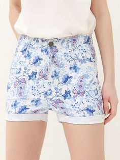 Casual Floral Print High Waisted Turnup Design Shorts For Women Fashion Pants, Fashion Outfits, Fashion Clothes, Kinds Of Clothes, Women's Clothes, Bathing Suit Bottoms, Cheap Pants, Pants For Women, Clothes For Women