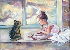"""Купить Картина маслом """"Пуанты"""" - бежевый, балерина, балет, детская комната, ребенок, розовый, пуанты"""