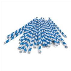 Fun blue stripe straws