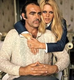 """Brigitte Bardot and Sean Connery in Spain for the filming of """"Shalako"""" (1968)"""