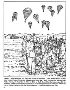 WW2 Coloring page: General George Marshall inspects Paratroopers