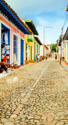 Colorful traditional houses in the colonial town of Trinidad, best-preserved city in the Caribbean, Cuba