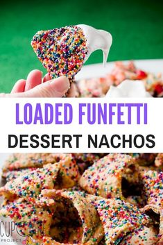 These dessert nachos have been fan favorites for many years! They are crunchy funfetti cookies with a meringue dip (you can use marshmallow fluff if you want to save time), diced strawberries, and chocolate chips. Get creative and add chocolate sauce, Nutella, caramel, or whatever else you can dream up! Touchdown! Dessert Nachos, Nutella Snacks, Superbowl Desserts, Fun Desserts, Baking Recipes, Cookie Recipes, Kreative Desserts, Funfetti Cookies, Nacho Bar