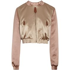 Burberry Prorsum Cropped satin bomber jacket ($1,495) ❤ liked on Polyvore