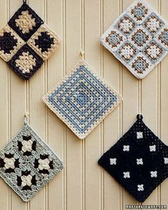 Squares Granny Squares - Martha Stewart Crafts -- Instead of a plate wall do a vintage granny square wall?Granny Squares - Martha Stewart Crafts -- Instead of a plate wall do a vintage granny square wall? Crochet Potholders, Crochet Blocks, Crochet Squares, Crochet Granny, Crochet Motif, Crochet Patterns, Granny Squares, Granny Granny, Knitting Squares