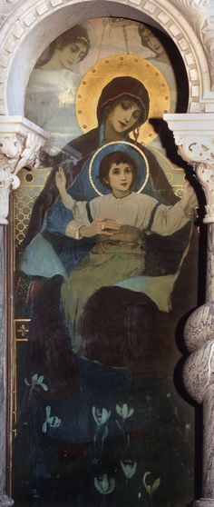 The virgin with the Baby. The painting of the iconostasis of the southern chapel in the choir of St. Vladimir Cathedral in Kiev by Mikhail Vasilyevich Nesterov: History, Analysis & Facts Unique Paintings, Oil Paintings, Byzantine Icons, Russian Art, Painting For Kids, Choir, Cool Artwork, Fresco, Art Inspo