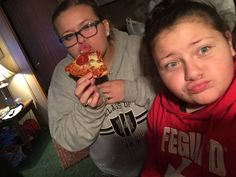 "Who doesn't love pizza, with my ""lil sis"""