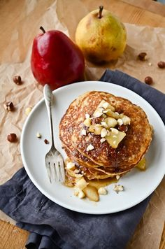blissful eats with tina jeffers: hazelnut pancakes with pear compote