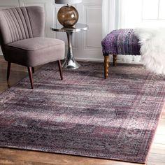 nuLOOM Oriental Vintage Viscose Persian Amethyst Area Rug (9'6 x 12'10) (Amethyst), Purple, Size 10' x 13'