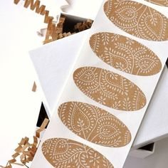 hand-printed kraft paper stickers