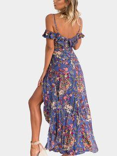 Al azar impresión floral splited hem maxi vestido - US$31.95 -YOINS