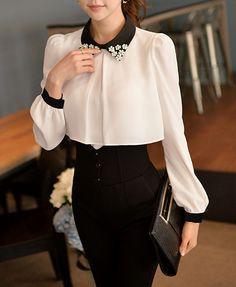 White Shirt Chiffon Black Collar Manual Nail Bead Shirt - ShopGalaxie